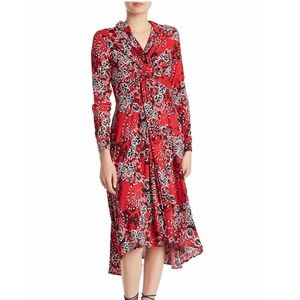 FREE PEOPLE Printed Twist-Front Shirtdress
